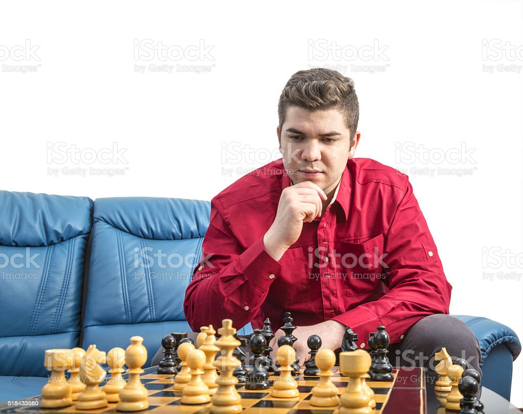 Portrait of a Chess Player stock photo