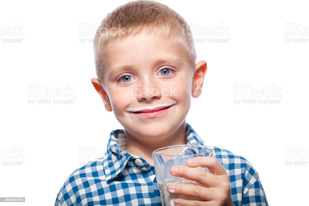 Portrait of a child with milk smile royalty-free stock photo
