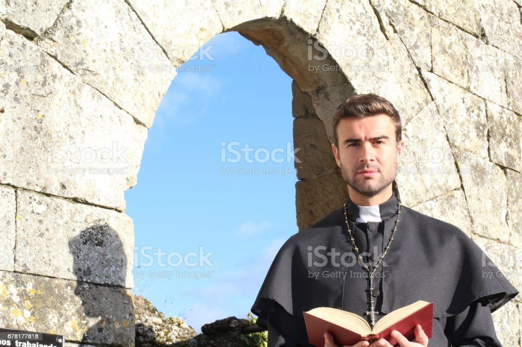 Portrait of a Christian priest stock photo
