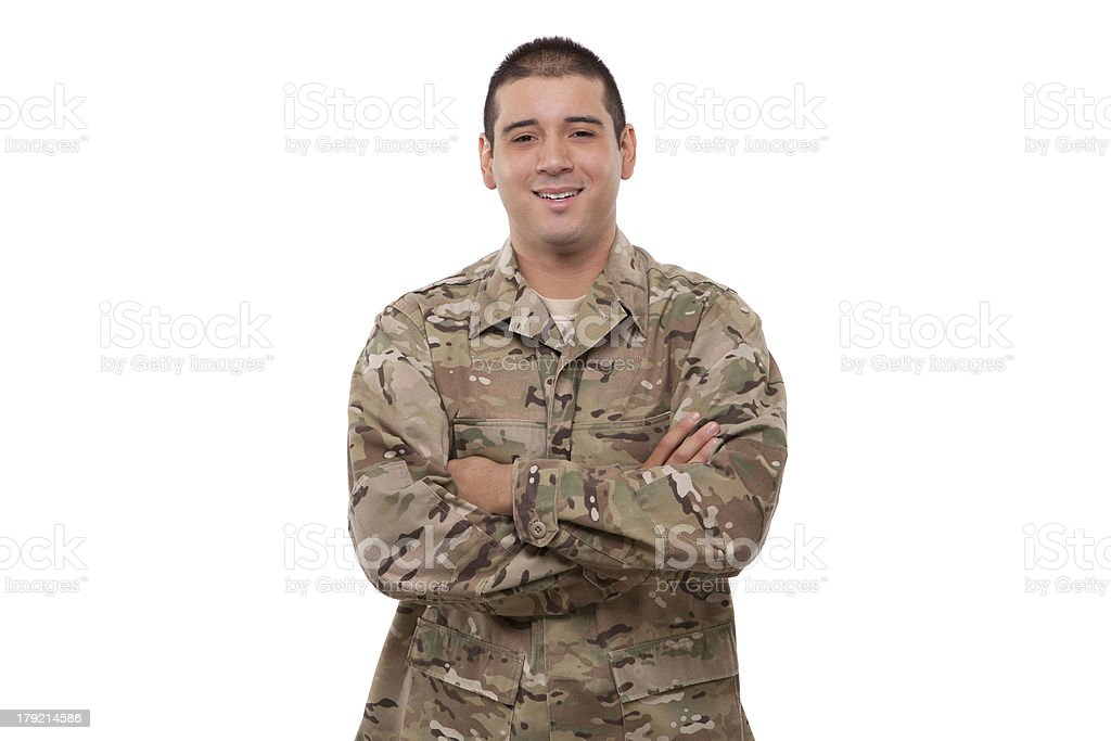 Portrait of a confident American soldier with arms crossed royalty-free stock photo