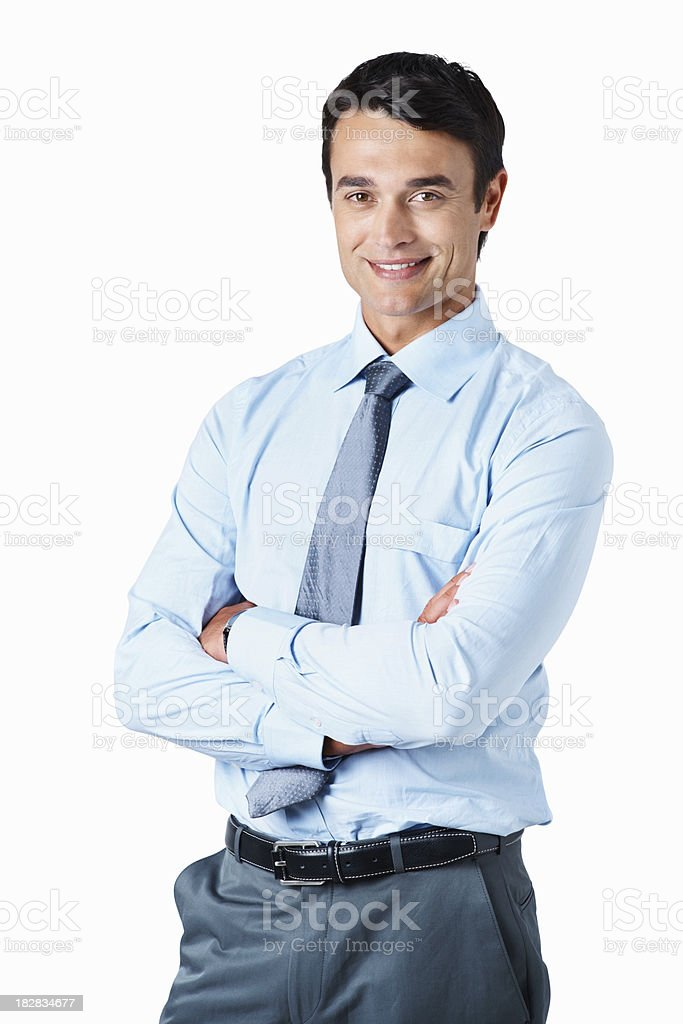 Portrait of a confident business man with hands folded royalty-free stock photo