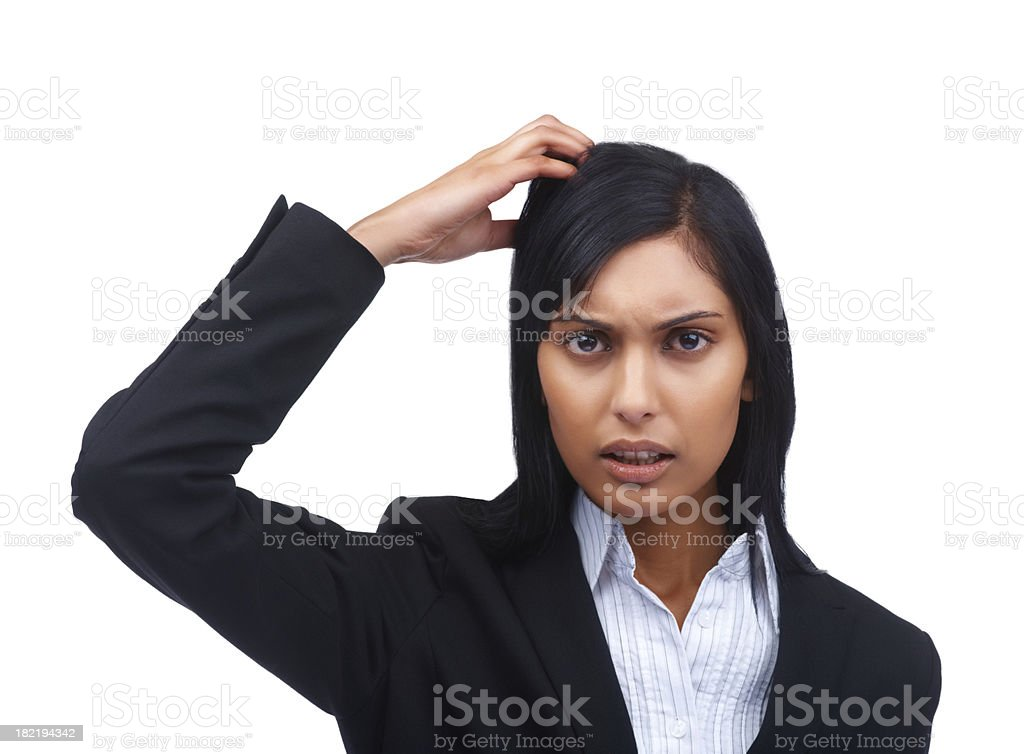 Portrait of a confused young businesswoman royalty-free stock photo