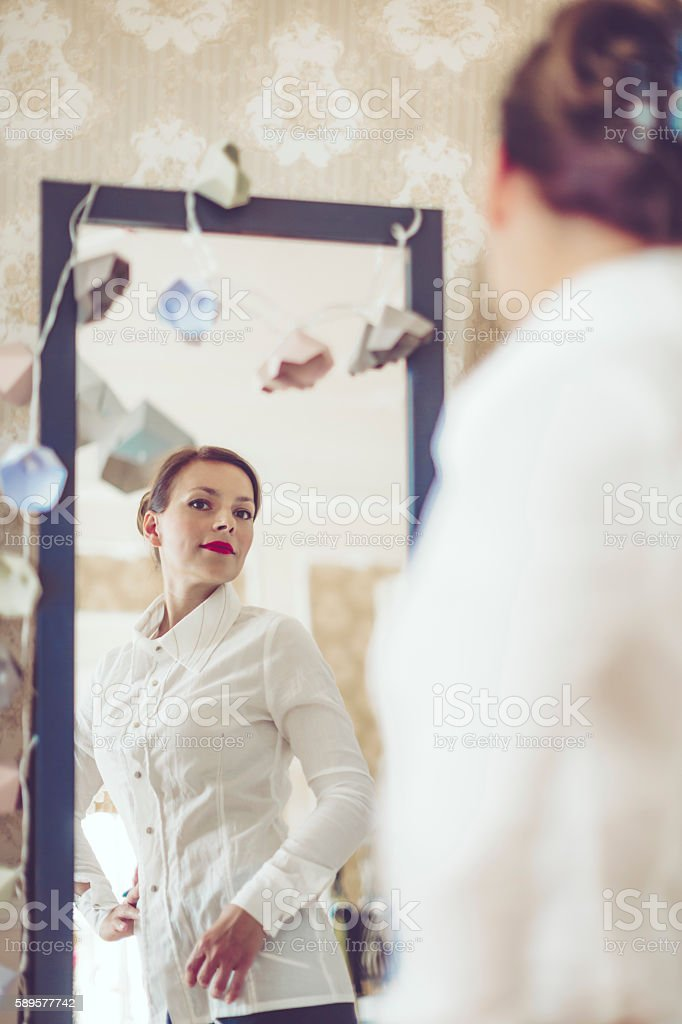 Portrait of a content businesswoman stock photo
