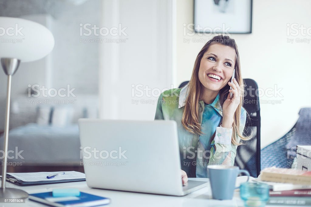 Portrait of a content, smiling young woman stock photo
