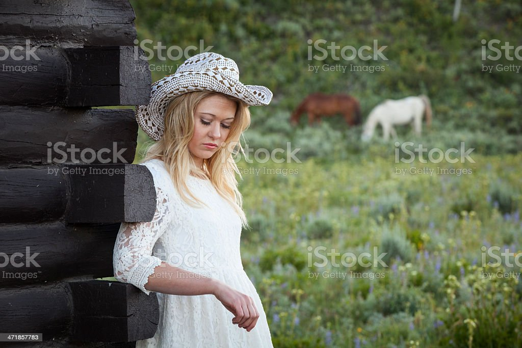 Portrait of a Cowgirl in White royalty-free stock photo