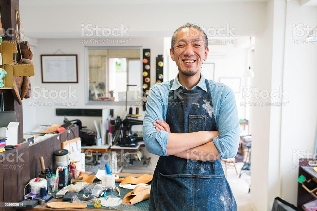 Portrait of a craftsman stock photo