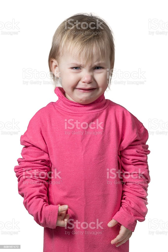Portrait of a crying child stock photo