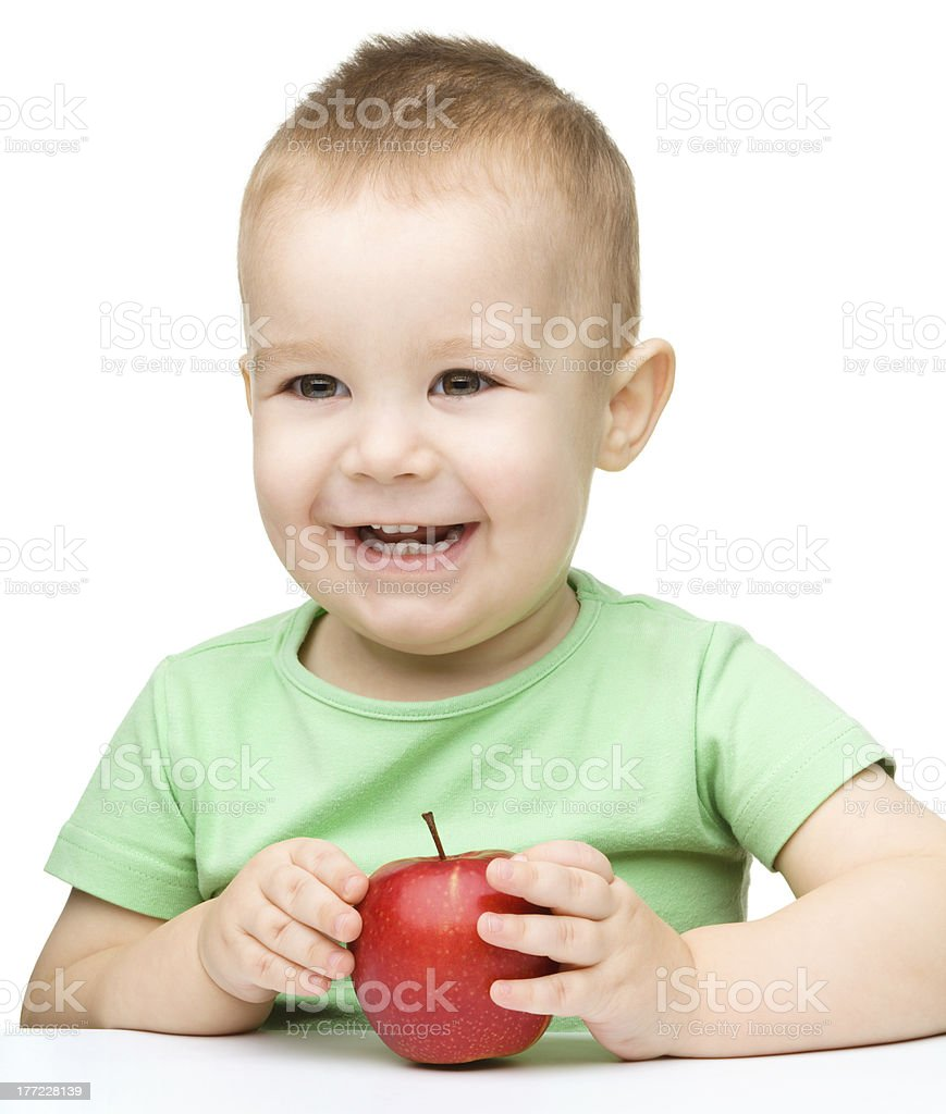 Portrait of a cute cheerful little boy stock photo
