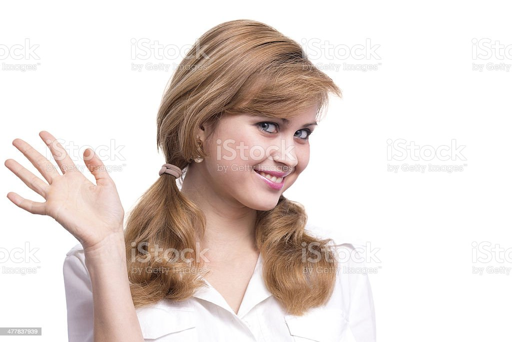 portrait of a cute fashionable girl in white shirt stock photo