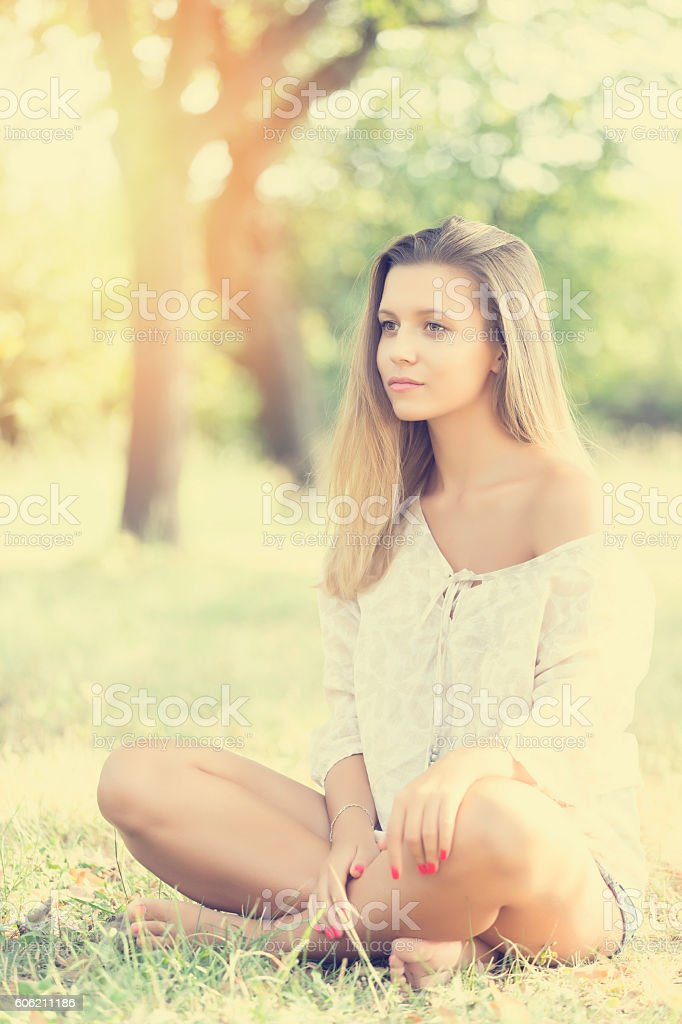 Portrait of a Cute Girl at the Park stock photo