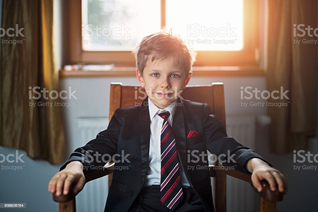 Portrait of a cute little business man or politician stock photo
