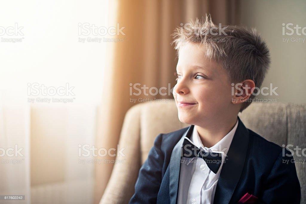Portrait of a cute little business man stock photo