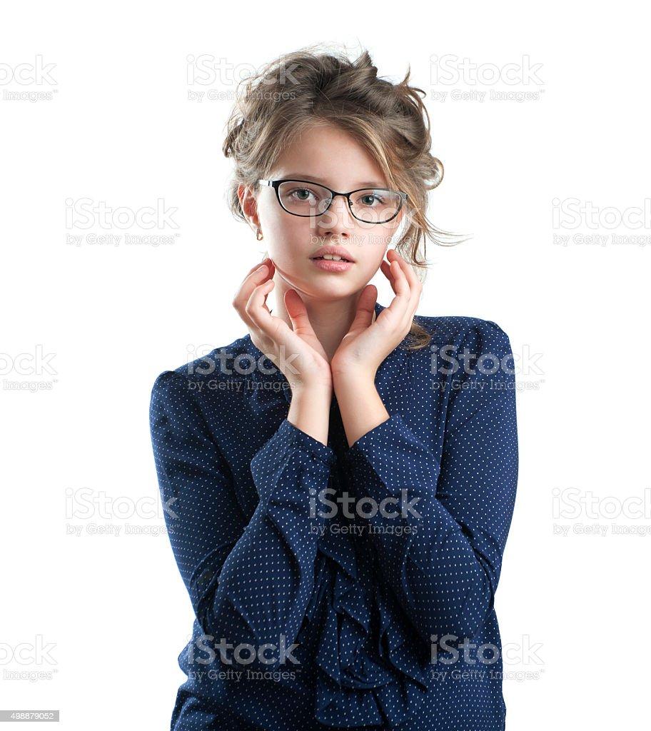 Portrait of a cute little girl. stock photo