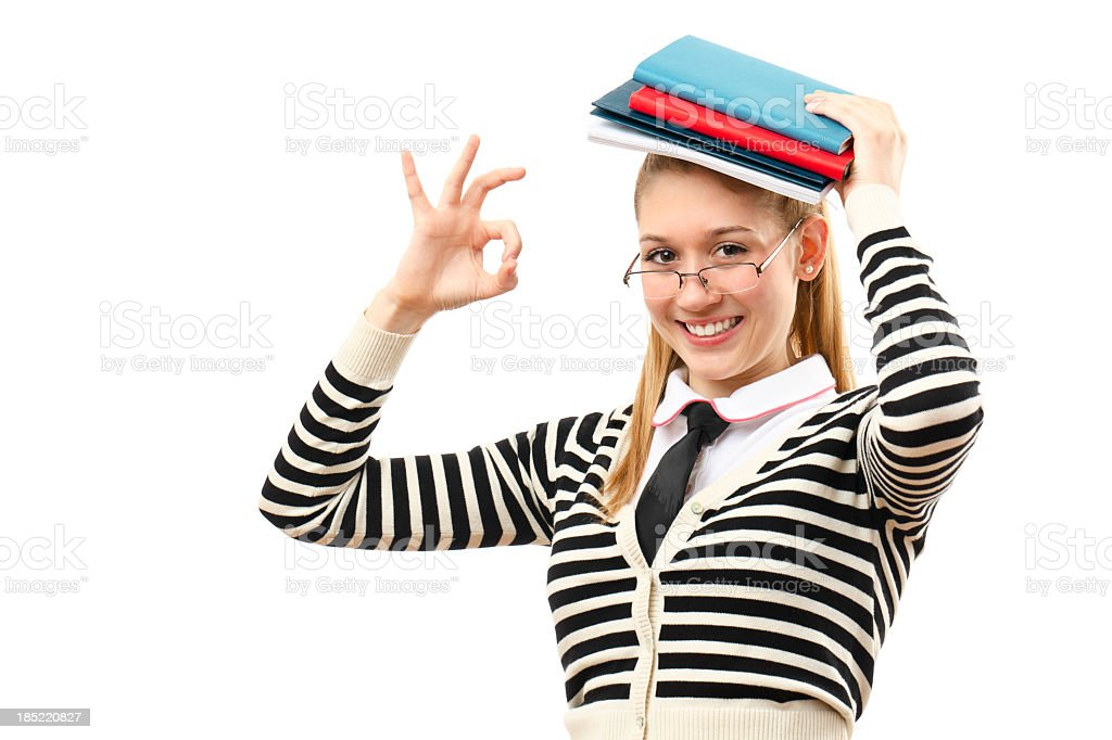 Portrait of a cute student girl stock photo