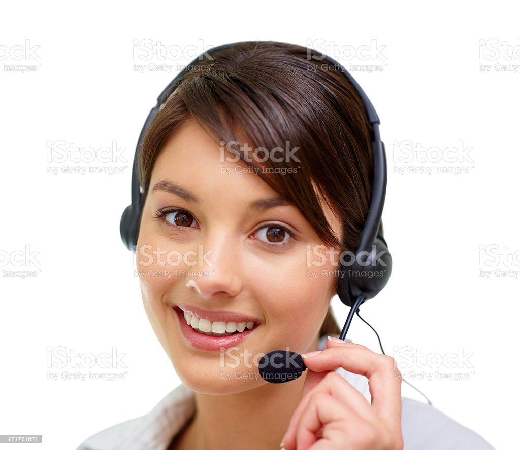 Portrait of a cute woman speaking on  headset stock photo