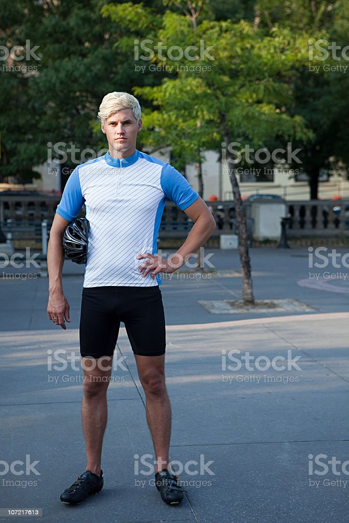 Portrait of a cyclist stock photo