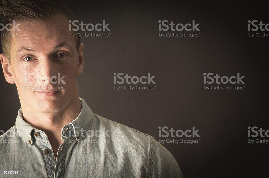 Portrait of a Danish Citizen in Black Background stock photo