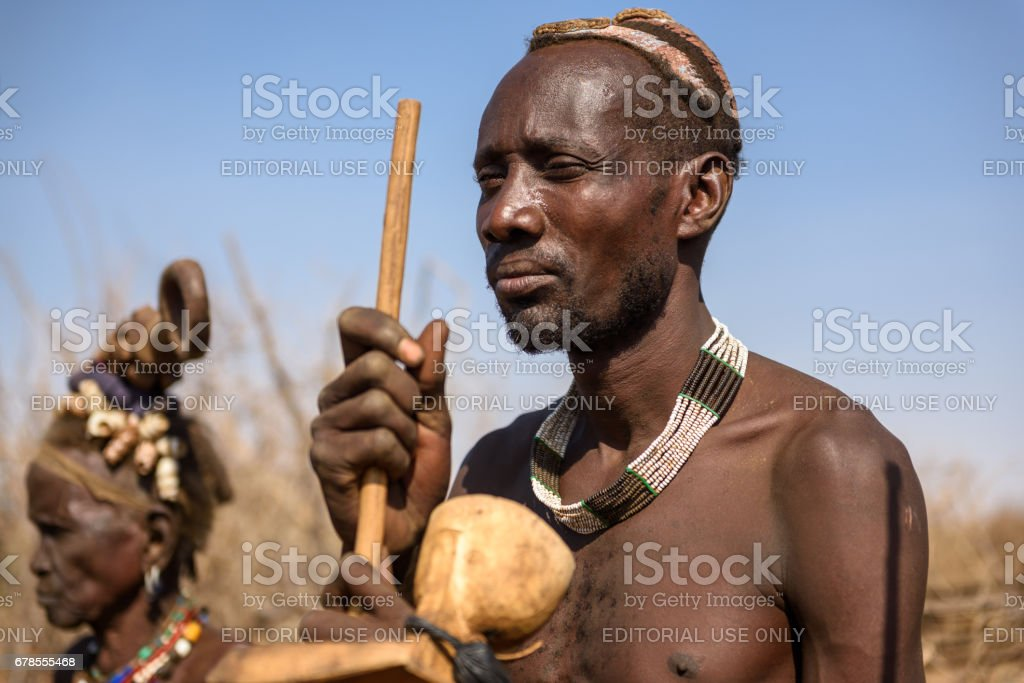 Portrait of a Dassanech tribe man stock photo