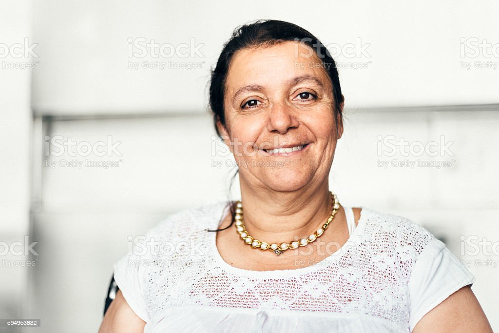 Portrait of a Disabled Mexican Woman stock photo