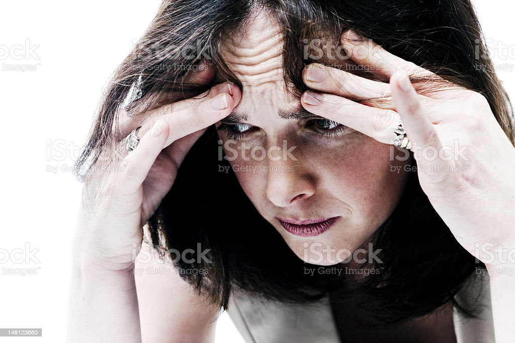 Portrait of a distraught woman stock photo