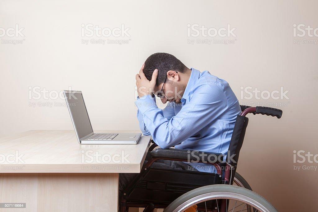 Portrait of a distressed businessman stock photo