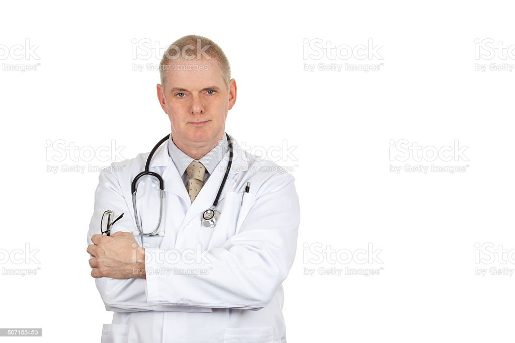 Portrait of a doctor wearing a white coat and stethoscope stock photo