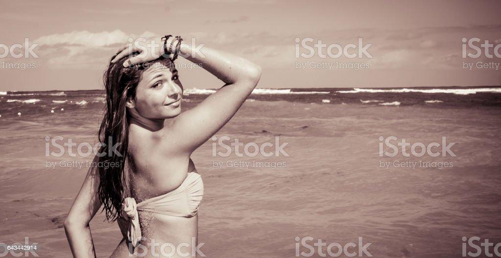 Portrait of a Dominican Girl dressing bikini stock photo