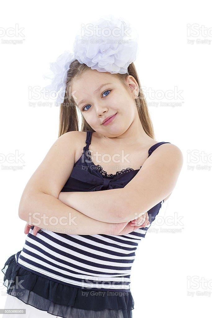 Portrait d'une fillette belle émotionnelle. photo libre de droits