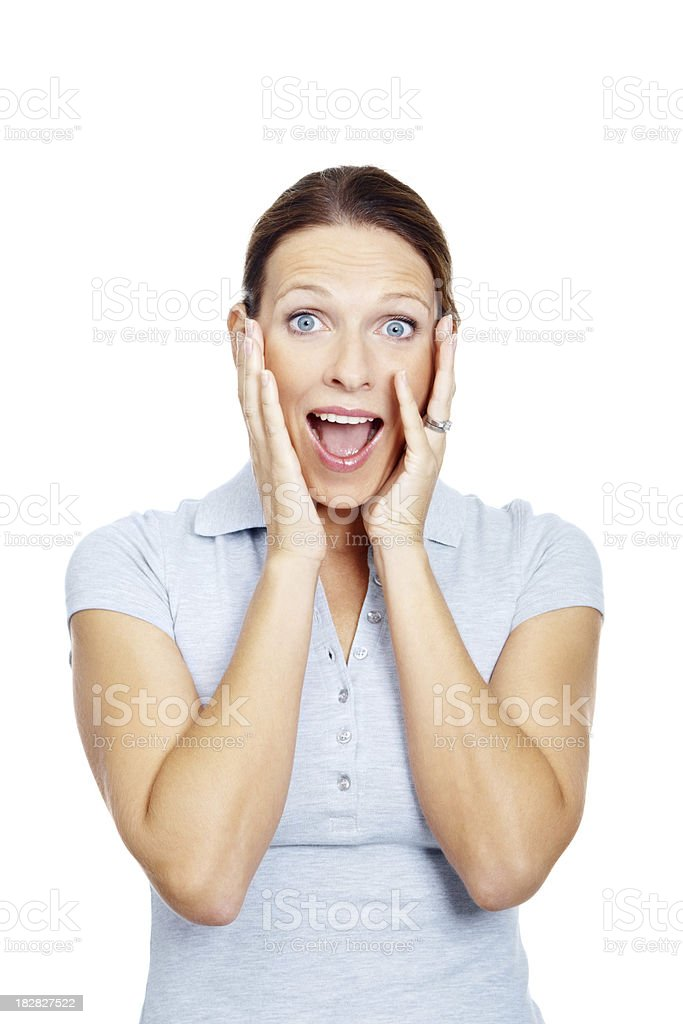 Portrait of a excited mature female against white royalty-free stock photo