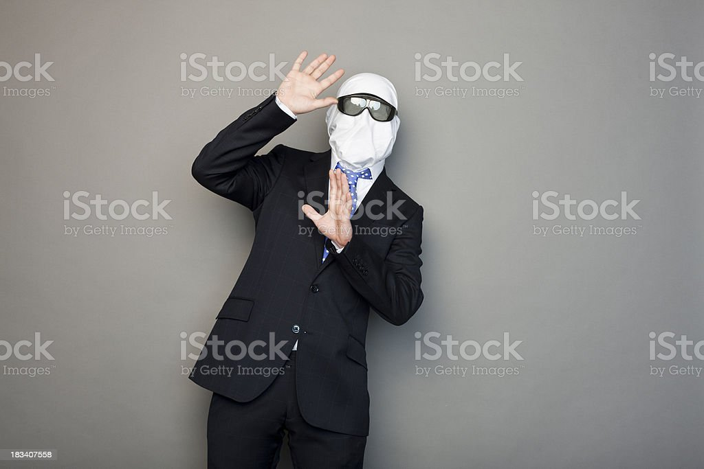 portrait of a faceless man wearing 3d glases stock photo