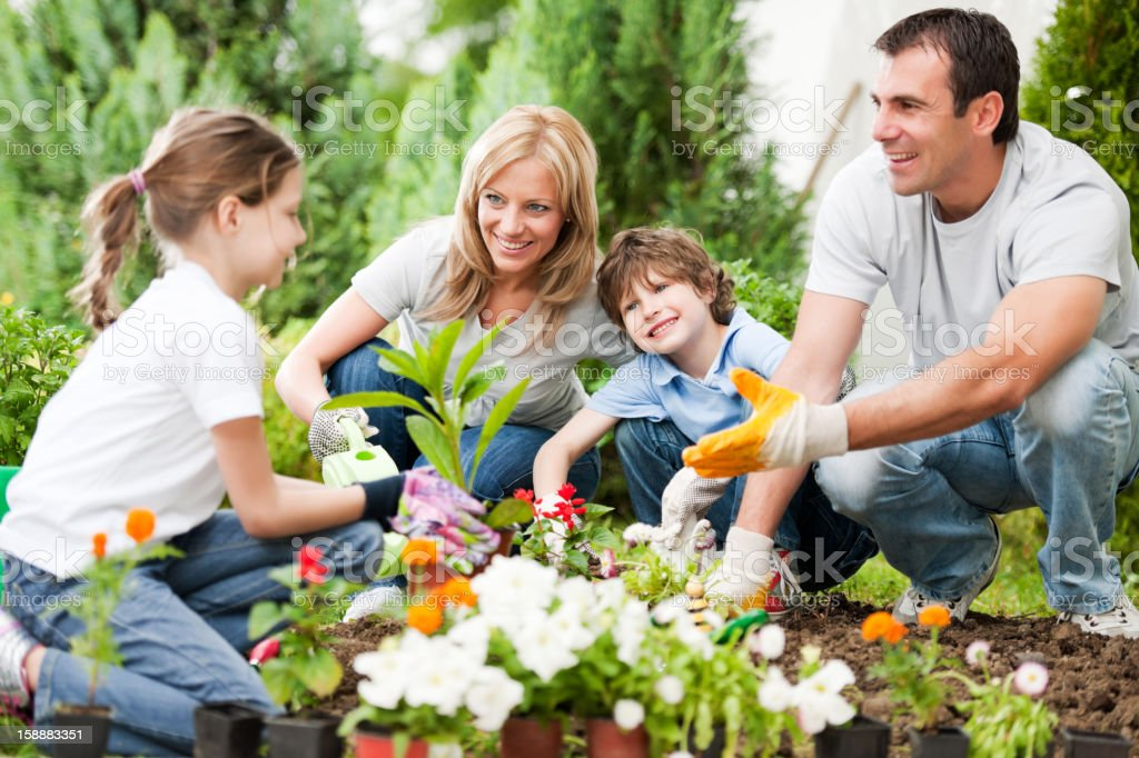 Portrait of a family gardening. stock photo