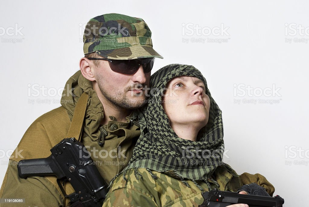 Portrait of a family  military stock photo