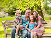 Portrait of a family sitting on bench at park