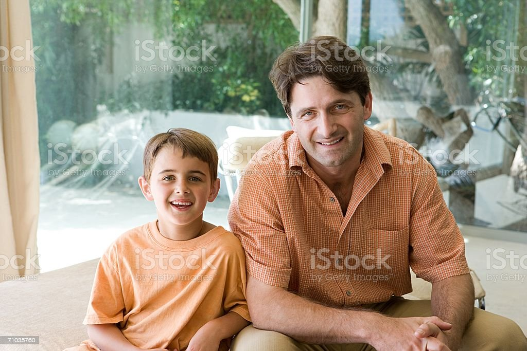Portrait of a father and son royalty-free stock photo