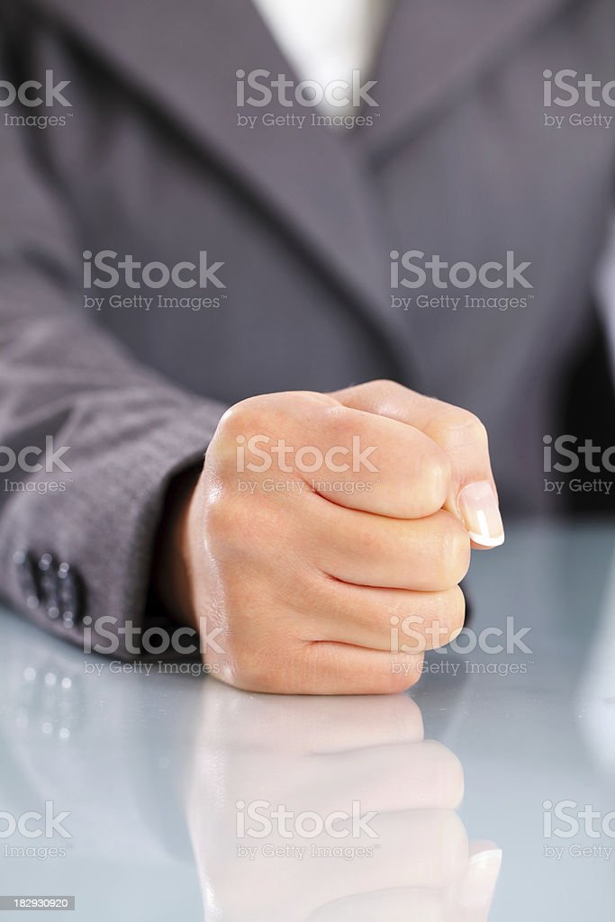 Portrait of a female hand fist. royalty-free stock photo