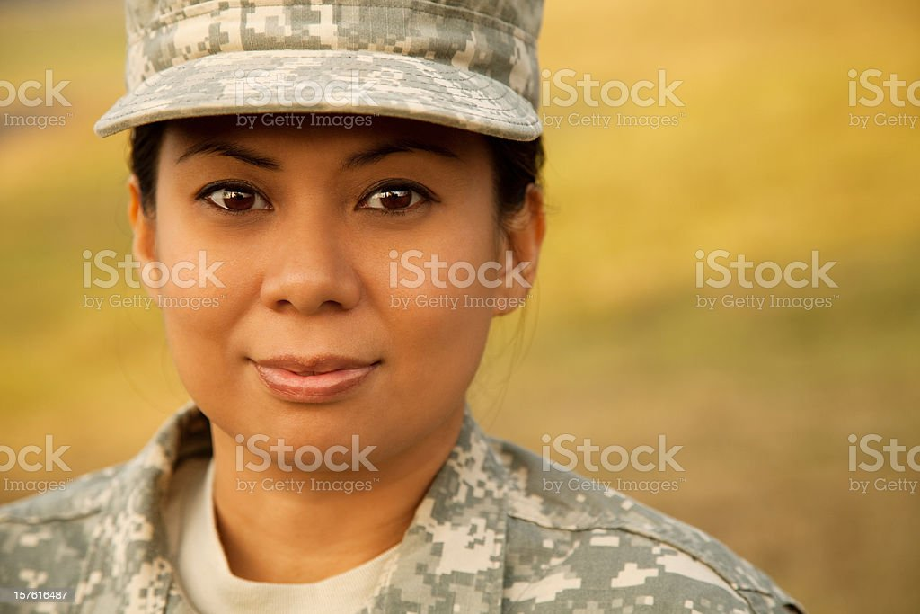 Portrait of a female military soldier royalty-free stock photo