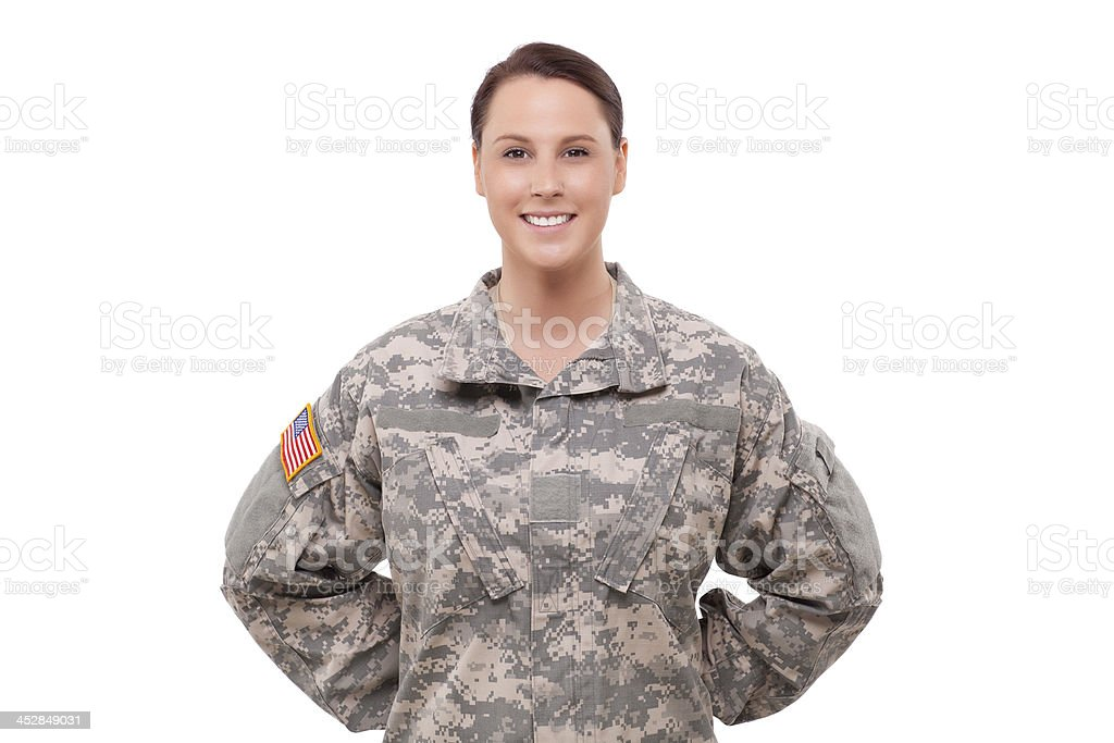 Portrait of a female soldier stock photo
