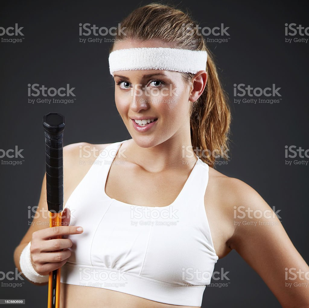 Portrait of a female tennis player royalty-free stock photo
