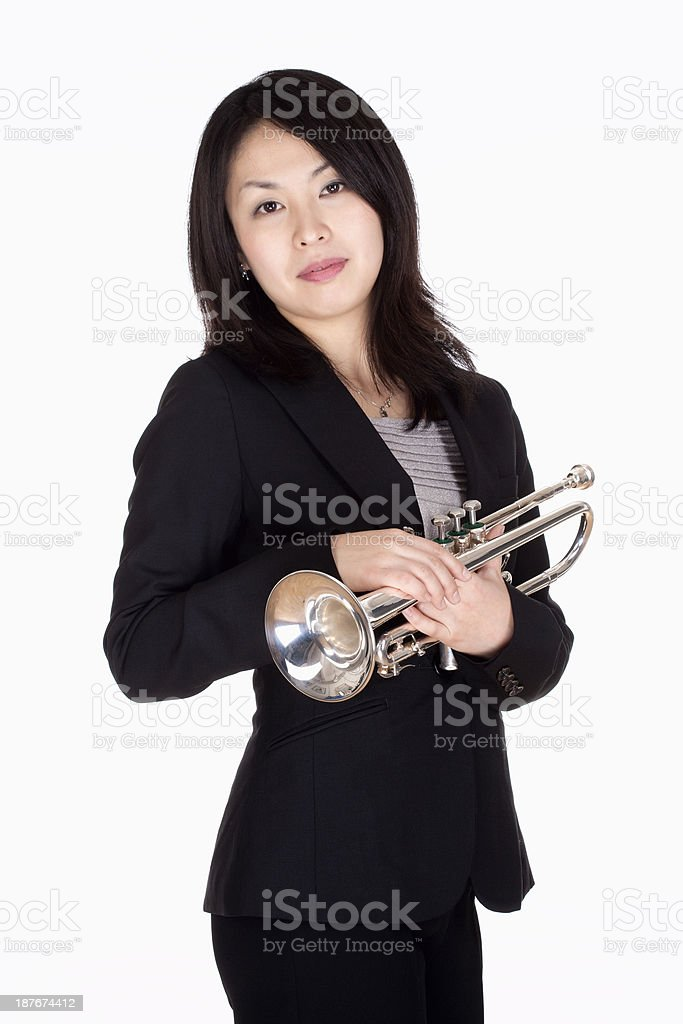 Portrait of a Female Trumpet Player royalty-free stock photo