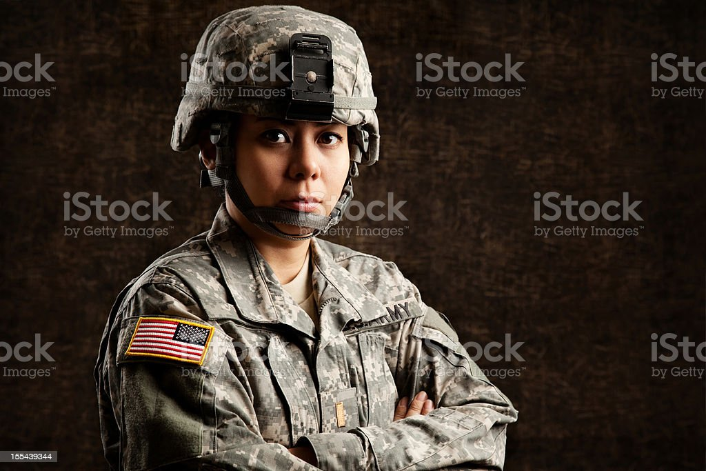 Portrait of a Female US Army Soldier stock photo