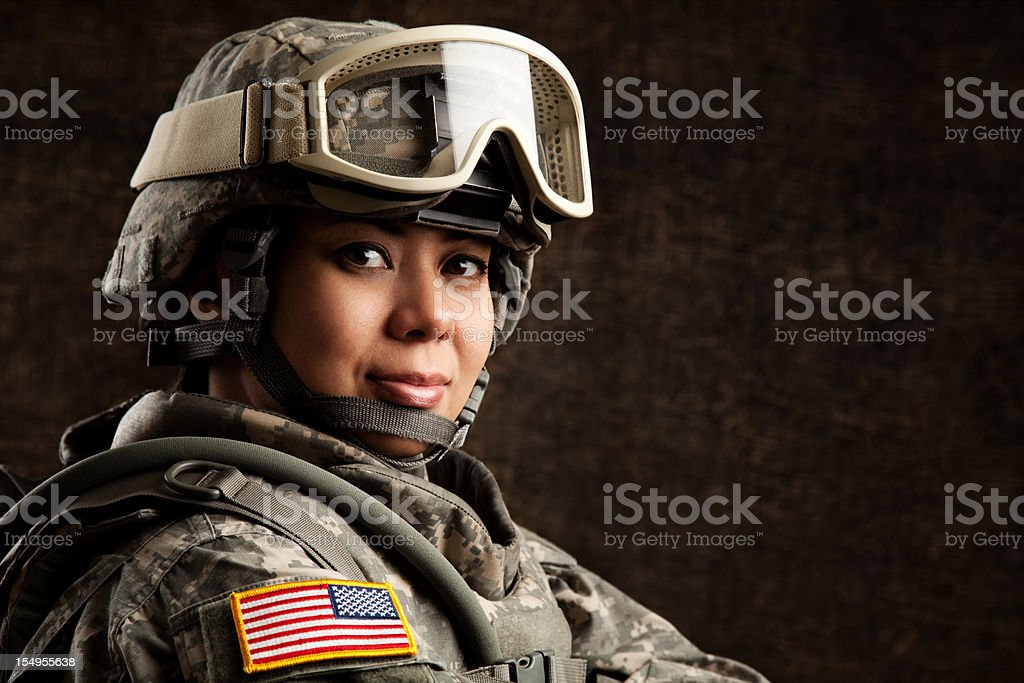 Portrait of a Female US Military Soldier stock photo