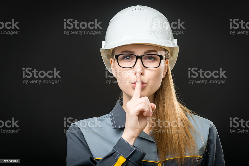 portrait of a female worker stock photo