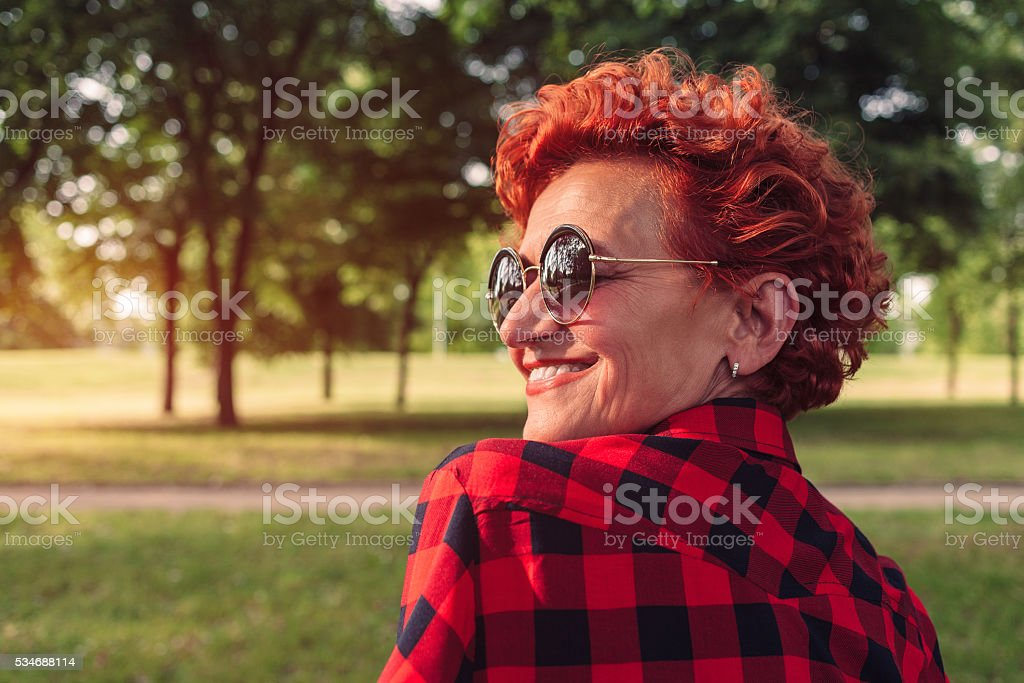 Portrait of a fifty year old woman stock photo