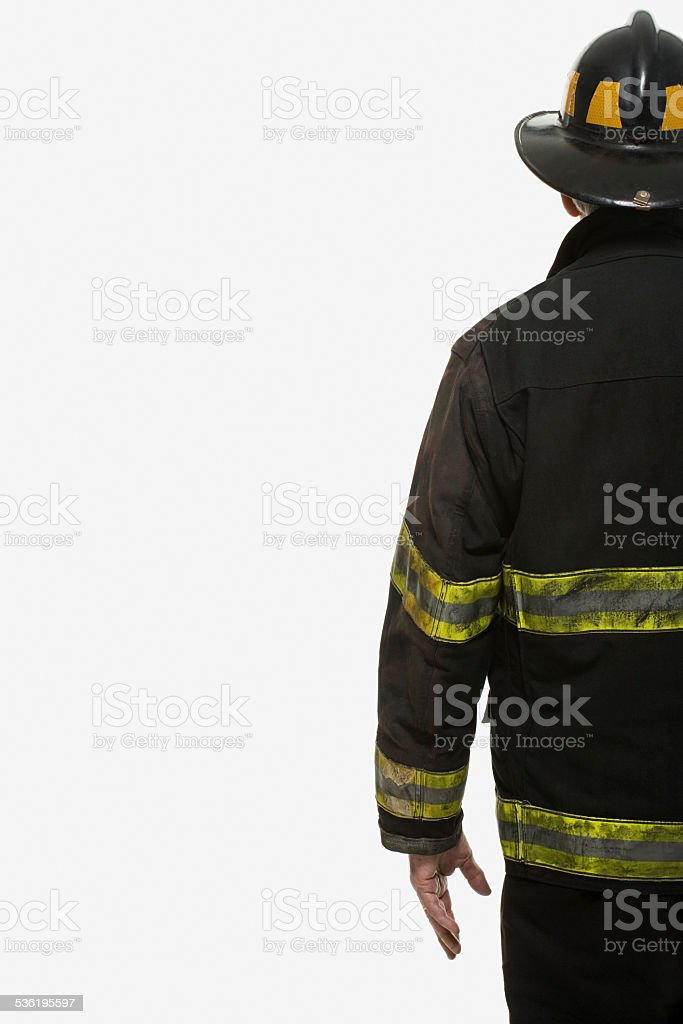 Portrait of a firefighter stock photo