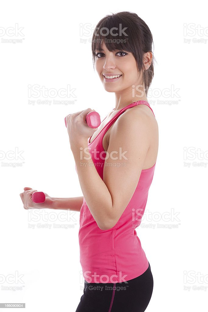 Portrait of a fitness woman working out with free weights royalty-free stock photo