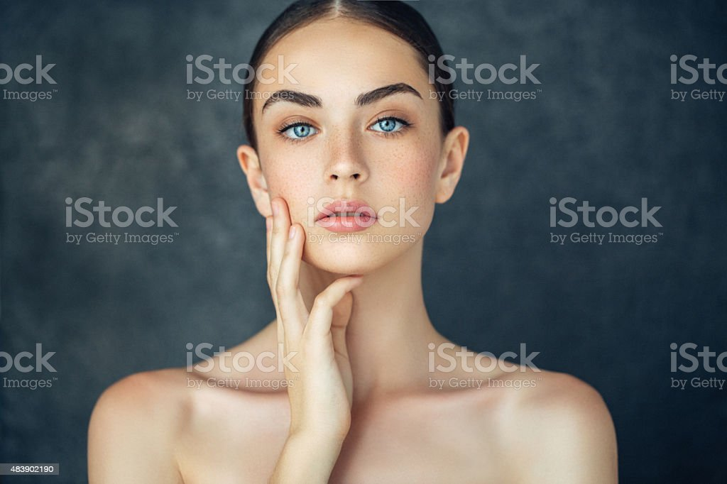 Portrait of a fresh and lovely woman stock photo