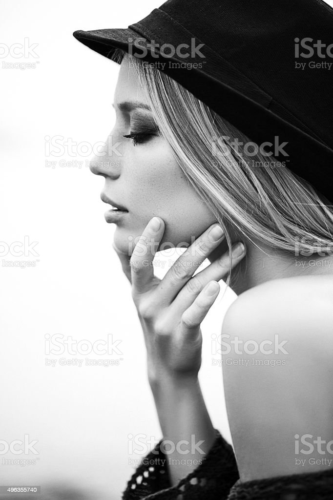 Позже - Portrait of a fresh and lovely woman stock photo