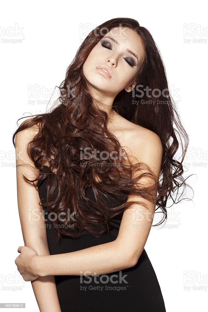 Portrait of a fresh and lovely woman with luxury hairs royalty-free stock photo