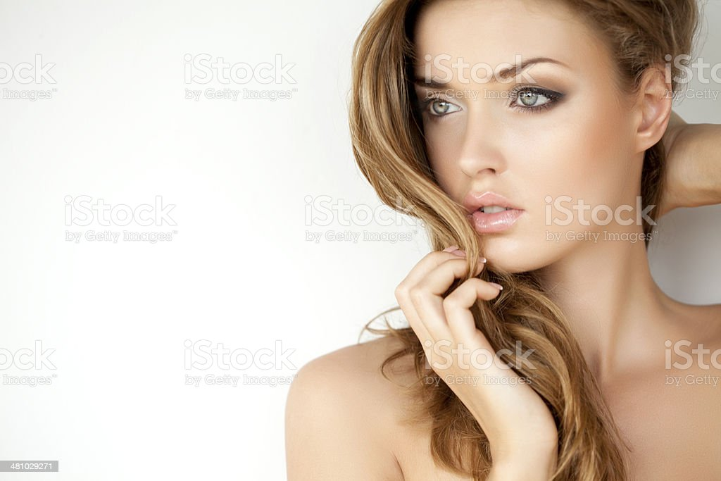 Portrait of a fresh and lovely woman with makeup stock photo