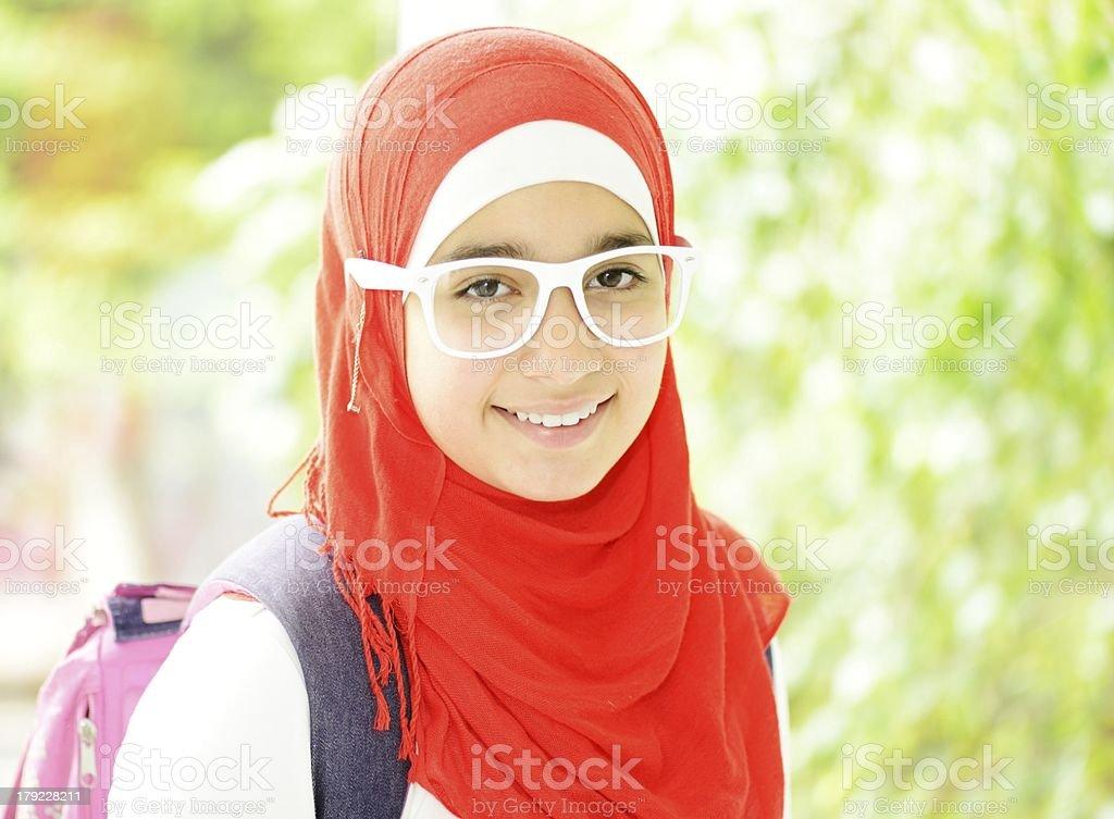 Portrait of a fresh beauty arabian school teenage girl royalty-free stock photo